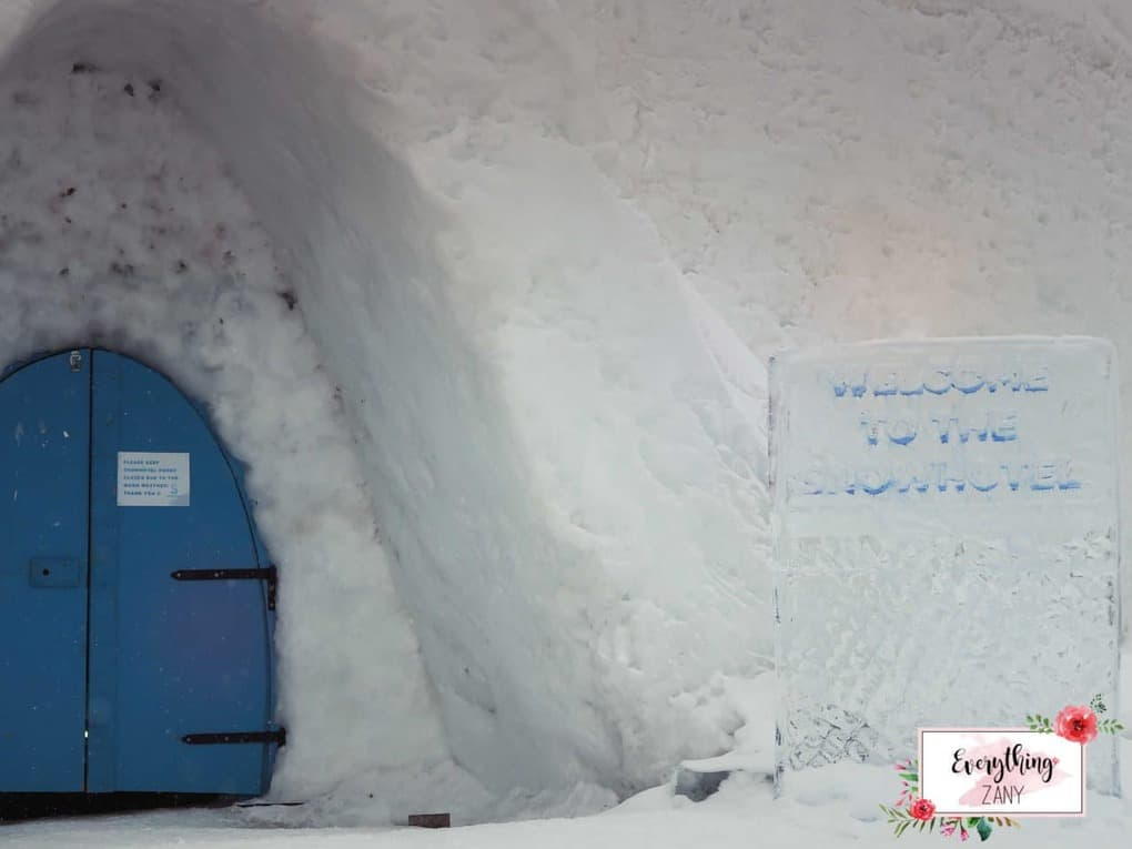 Entrance to the Snow Hotel Kirknes Ice bar