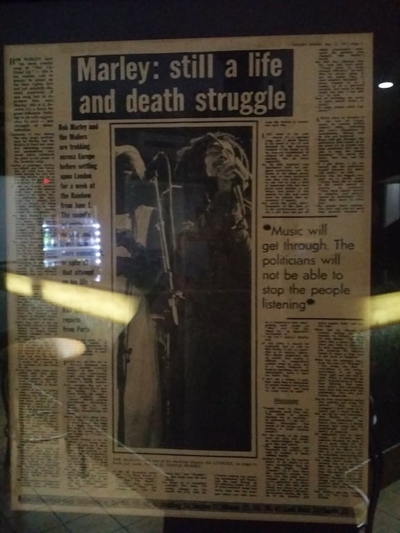 News clippings of Bob Marley in Jamaica