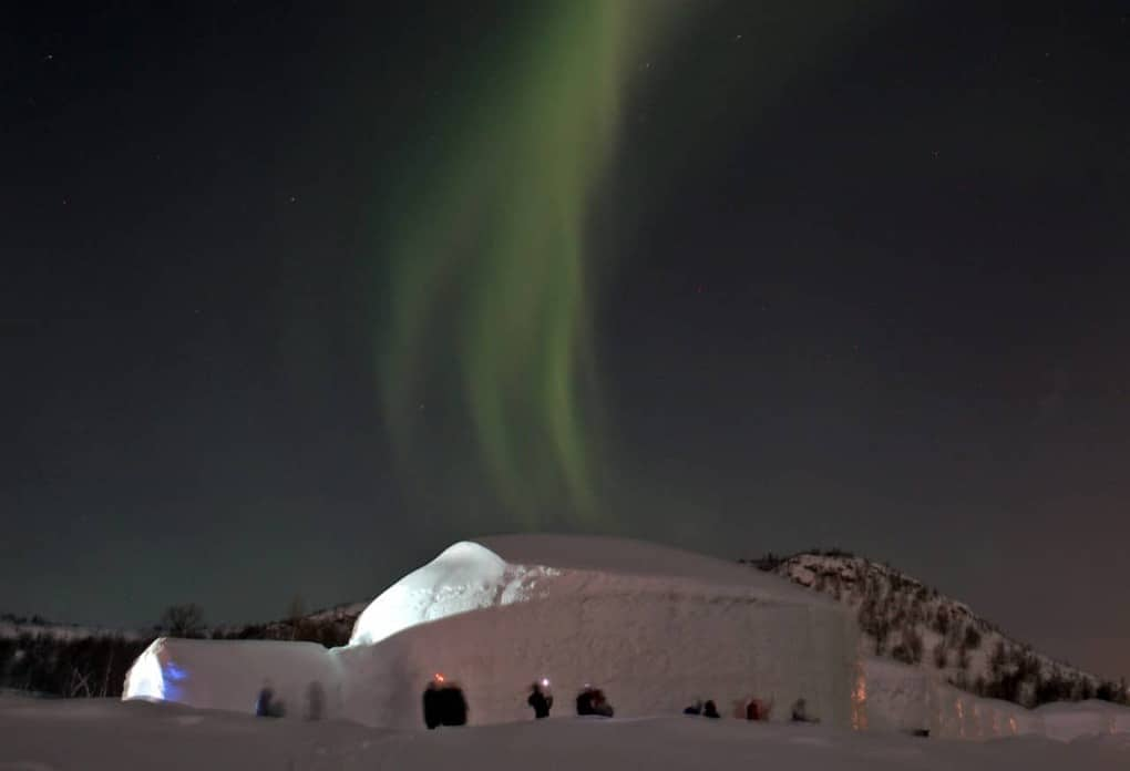 northern lights in the ice hotel