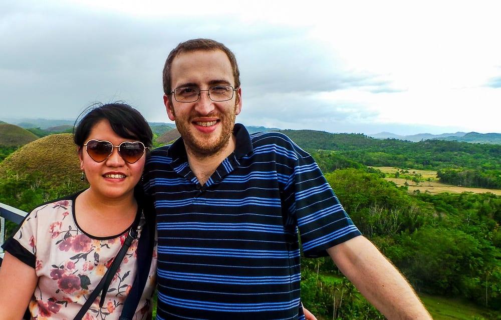 Ryazan and Stephen in Chocolate Hills, Bohol Philippines