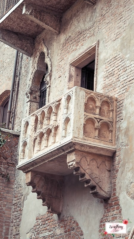 The balcony at House of Juliet in Verona