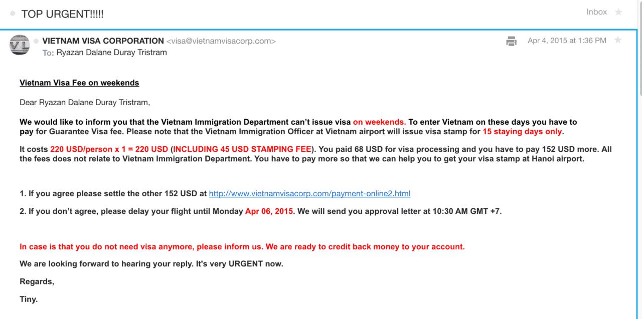 Vietnam visa online scam email 2