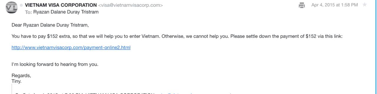 vietnam visa online scam payment request