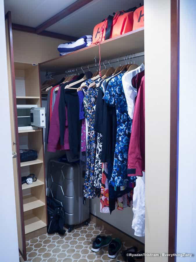 Spacious wardrobes onboard Royal Princess
