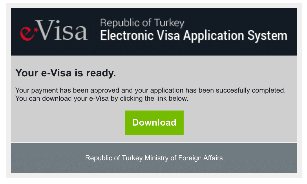 Turkish Evisa Approval