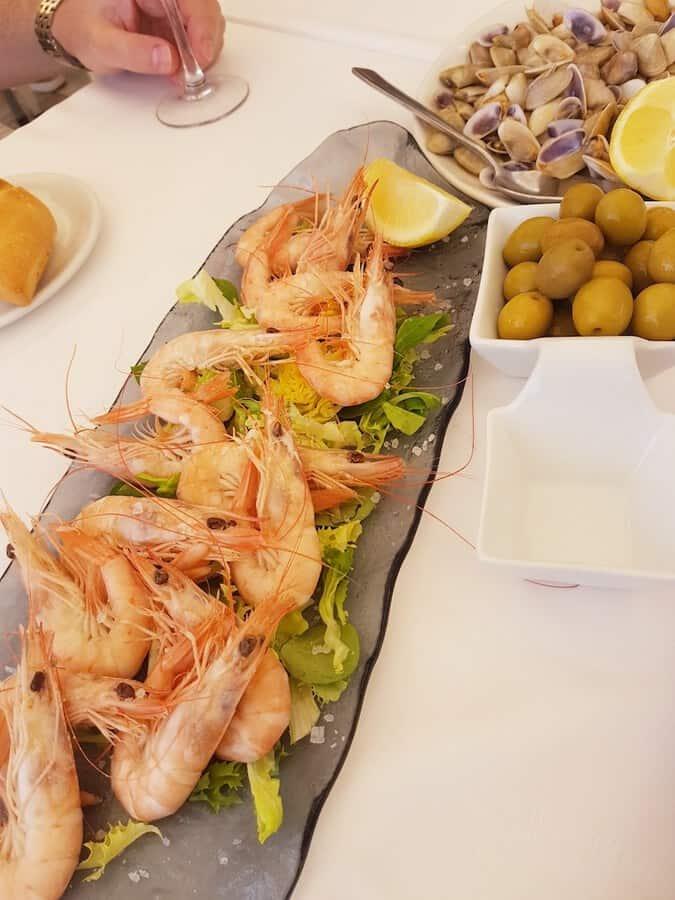 Gambas in Marbella restaurant