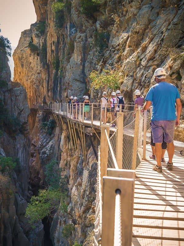 Tourist walking on Caminito Del Rey footpath