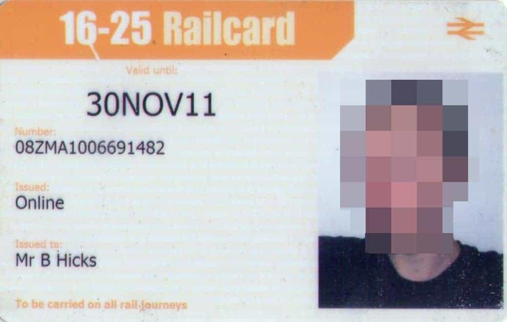 16-25 UK Train Railcard