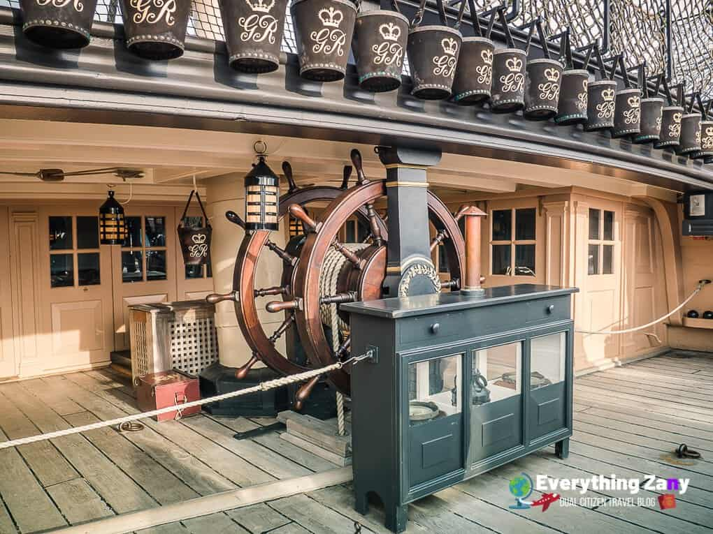 Ships wheel of HMS Victory in Portsmouth