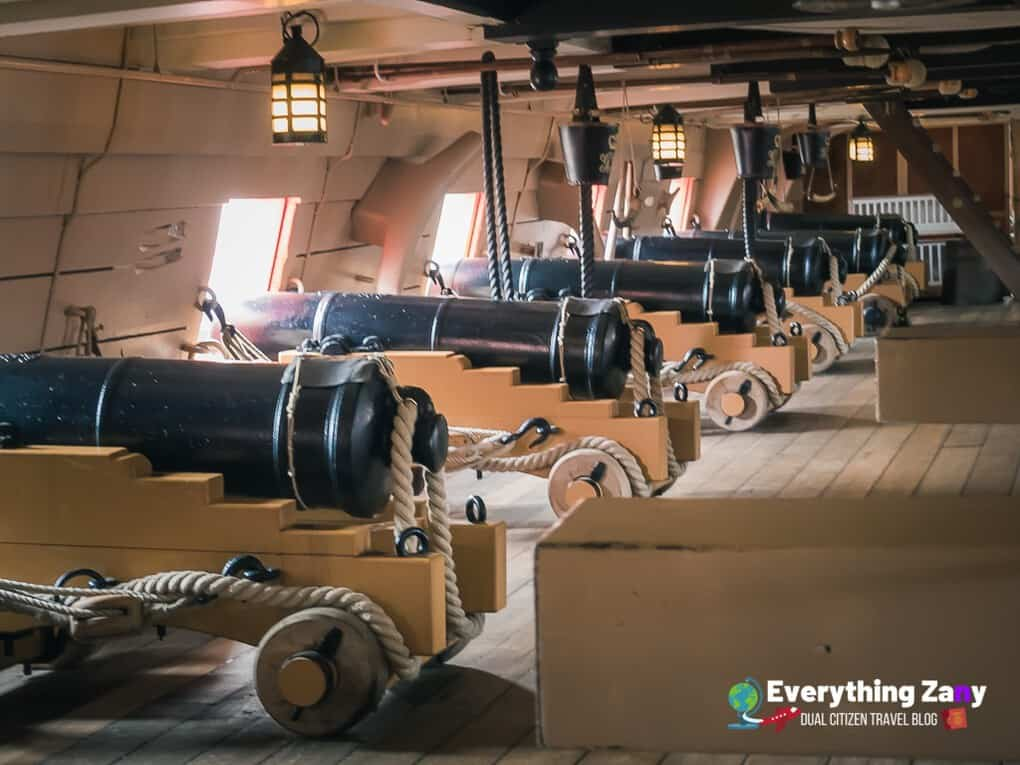 The guns inside the HMS Victory in Portsmouth