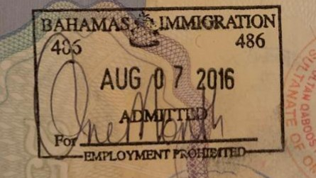 Bahamas Arrival Stamp for UK Passport Visa Free countries