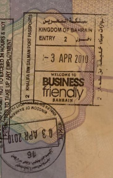 Bahrain Arrival Stamp UK Passport Visa free countries to visit