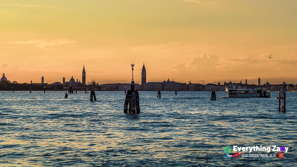 Beautiful Venice Italy skyline sunset