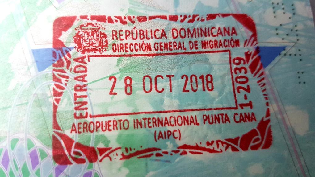 Dominican Republic Arrival Stamp for UK Passport Visa free countries