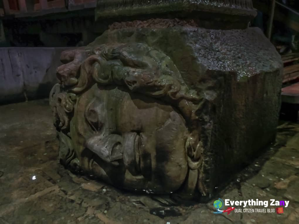 Medusa Head sideways in Basilica Cistern