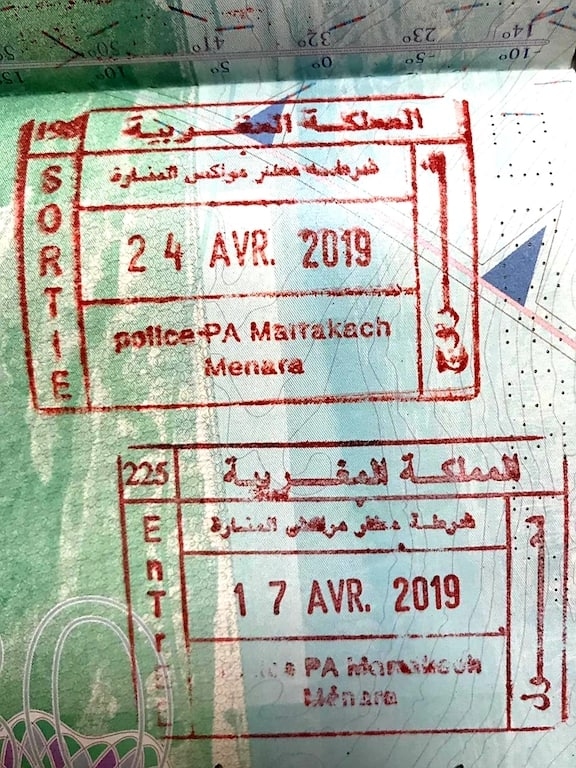 Morocco Arrival Stamp for UK Passport Visa Free countries