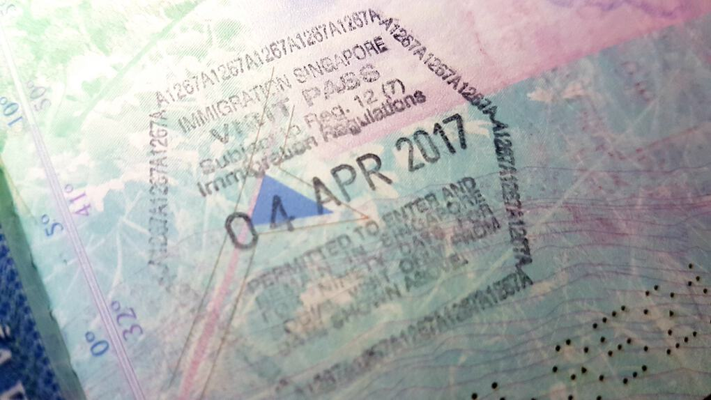 Singapore Arrival Stamp for UK Citizen Visa free countries