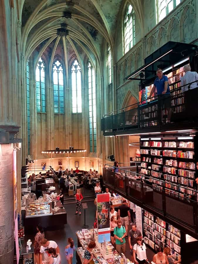 Inside with the Cafe view the Bookstore Dominicanen in Maastricht Netherlands