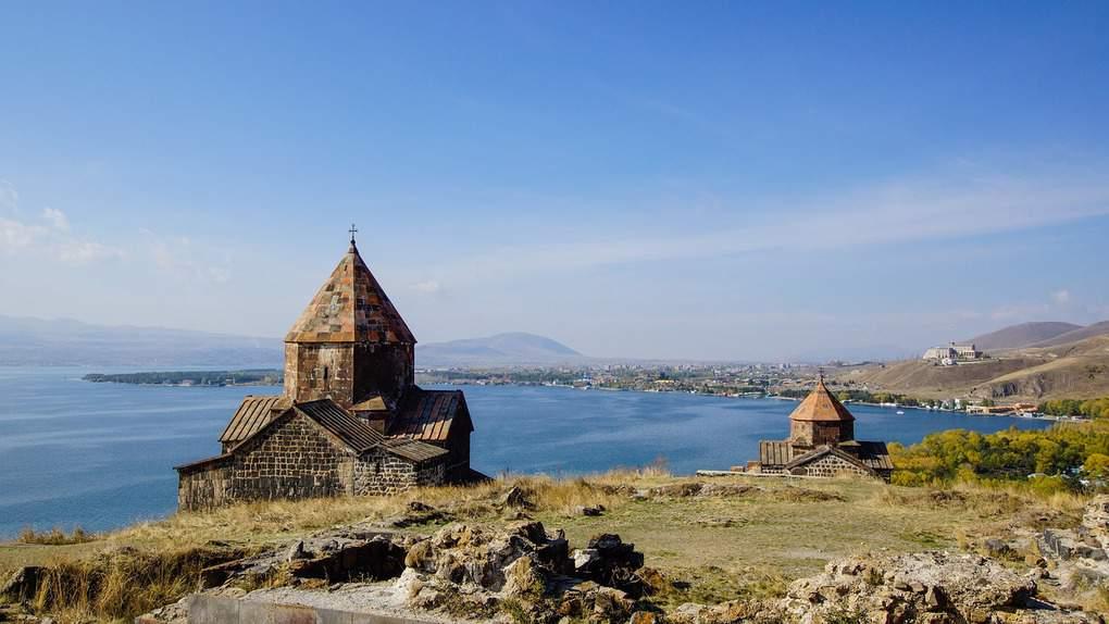 View of Lake Sevan in Armenia